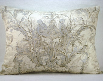 Silver Toile de Jouy Decorative Accent Lumbar Pillow  Cover 16x22