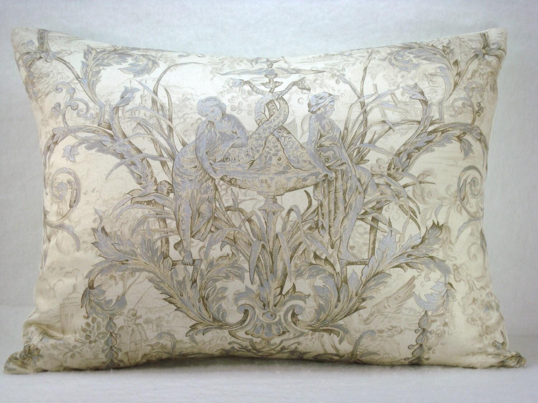 silver metallic toile de jouy decorative accent lumbar pillow. Black Bedroom Furniture Sets. Home Design Ideas