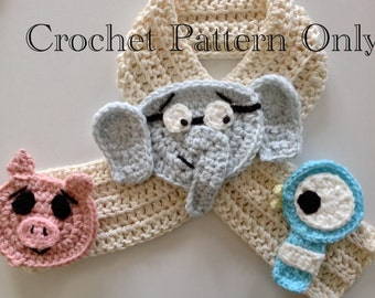Crochet Elephant, Piggy and Pigeon Scarf PDF