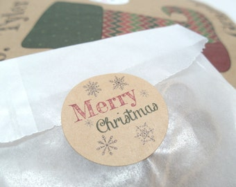 "Christmas Sticker, Christmas Seal, 1.5"" Circle Set of 30"
