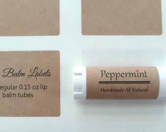 "Kraft Lip Balm Label, Kraft Label, 2.125"" x 1.6875"", Set of 30"
