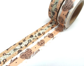 FREE SHIPPING - Antique Keys - Keys to My Heart Washi Tape Set of 2