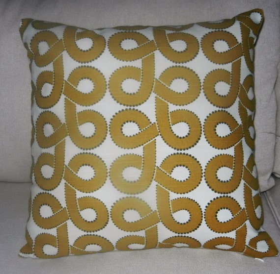 Pillow Cover with Crate and Barrel Fabric in Gold Cream