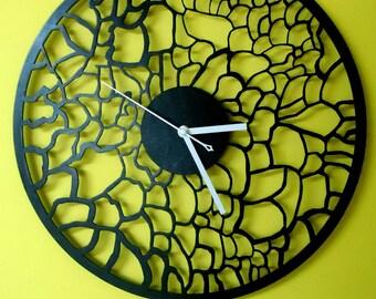"Black wall clock, WALL CLOCK 15.7""Diameter, Big wall clock,Wooden wall clocks,Large wall clock, Woodworking woodcraft home decor design"