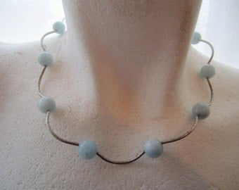 Round Aquamarine Beads and Silver Tubes Necklace ./. Collier Aigue Marine ./.  March Birthstone Aquamarine
