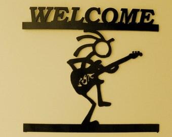 Kokopelli ,Southwest,Welcome Sign,Metal Art,Guitar