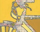 Bike Denver print 13x13 featuring Golden, Aurora, Englewood, Idaho Springs, Arvada, Edgewater Colorado  bicycle art print