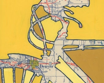 Denver no.2 - medium print - 13x13 & 16x16 featuring Golden, Aurora, Englewood, Idaho Springs, Arvada, Edgewater Colorado  bicycle art print