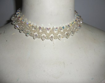 Authentic Very Old Antique Vintage Beautiful Handmade Crystal Necklace, Collar, Choker, And Matching Earrings