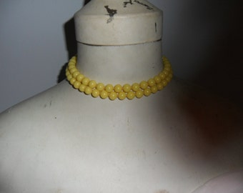 Authentic Vintage Stunning Yellow Glass Two Strand  Necklace With Extension