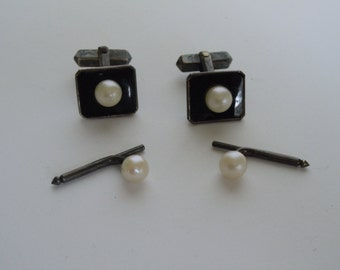 Vintage Sterling Silver Onyx & Cultured Pearl Cuff Links Cufflinks With Matching Tuxedo Sterling Pearl Studs