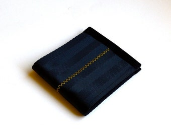 Black seat belt wallet with yellow stitching - Vegan Billfold - Velcro Wallet