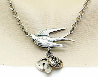 Vintage Victorian Steampunk Filigree Swooping Swallow with Charms Focal  Pendant Necklace