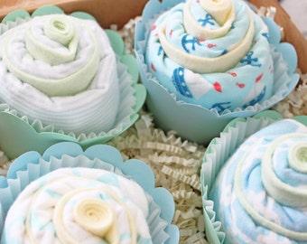 Baby Boy Gift, Cape Cod Nautical Baby Boy, Burp Cloth Cupcake, Boy Baby Shower