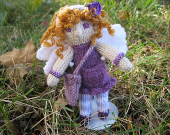Knitted Tooth Fairy ( Medium Sized)- Purple