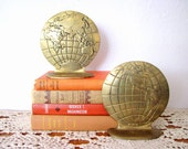 Vintage Brass World Book Ends - Desk - Bookshelf - Globe - Map