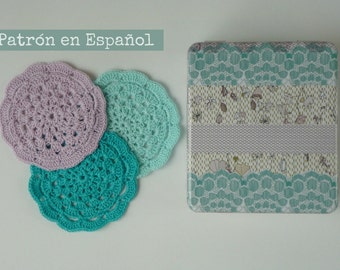 Patron Posavasos tejidos  al crochet - Foto tutorial  con  paso a paso - en Español - Coaster Pattern written in Spanish with Photos