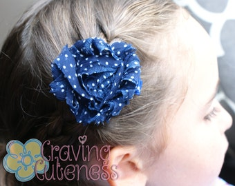 Shabby Chic Flower Clip - Navy and White Polka Dot - Meet Miss Shabi