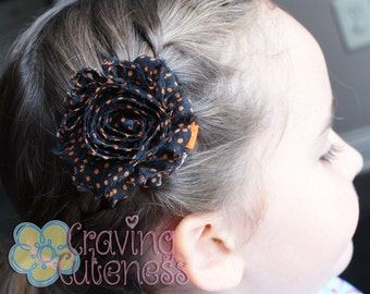 Shabby Chic Black and Orange Flower Clip - Meet Miss Shabi
