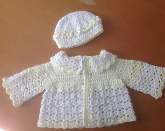 Baby Girl Yellow and White Jacket Sweater with Matching Hat