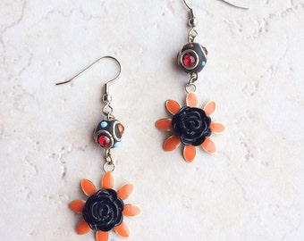 Black Orange Flower Earrings, Funky Mixed Media Earrings
