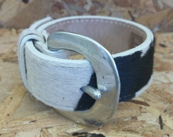 Leather Cuff, Mens Leather Cuff, Womens Leather Cuff,Unique Handmade Upcycled Bracelet, Black/White Faux Fur, Leather Cuff, Hipster