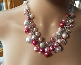 Limited edition pink Pearl cluster necklace- bridesmaid jewelry- chunky Pearl -