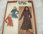 1980 Simplicity 9726  Size 14 Misses Pullover Dress with Accessory Sash Sewing Pattern Supply Misses Dress Misses Waisted Dress Shirtdress c
