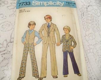 1976 Simplicity 7733 Boys Jacket Vest Pants Size 10 Boys Suit Pattern Boys Vest Pattern Boys Pants Pattern Sewing Pattern Supply c