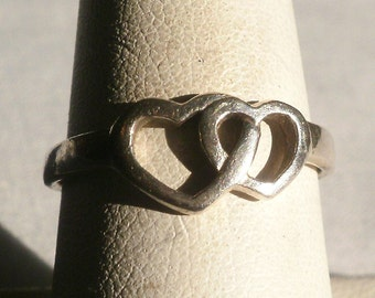 Vintage Sterling Silver Heart Ring-Size 8