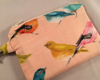 Pink Pastel Birds Small Zippered Pouch, Vegan Wallet, Notions Case