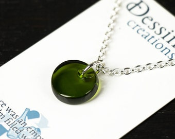 GREEN Wine Bottle Pendant Necklace, Fused Glass Jewelry, Eco Friendly Gift, Dessin Creations