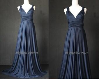 Convertible Dress Bridesmaid Dress Navy Blue Wrap Infinity Dress Sexy Dress Wedding Gown Formal