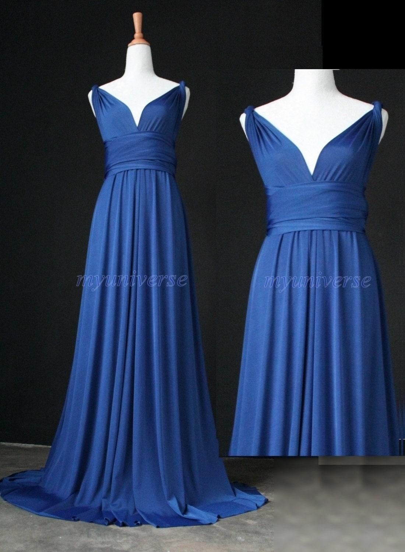 Cobalt Blue Bridesmaid Dress Infinity Dress Wrap Formal Dress