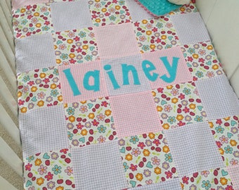 Personalized Crib Blanket- Glitter Flowers