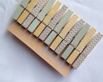 "NEW** Chevron Clothespins ""Sunshine & Rain""  - Set of 12 Handstamped Clothes Pins"