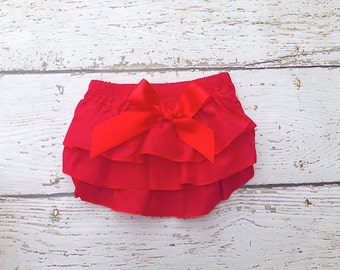 Christmas diaper Cover - red Baby Diaper Cover - Ruffle Diaper Cover - Ruffle Bloomers - Newborn Diaper cover - Toddler - Diaper cover set
