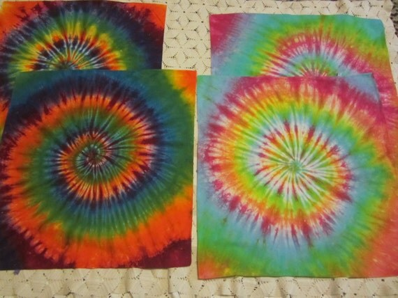 "Tie dye bandana- You choose between a bright or a pastel rainbow spiral,""Feed your inner hippie""- 350"