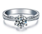 Moissanite Engagement Ring Round Brilliant and Diamonds 14k White Gold or 14k Yellow Gold Diamond Ring