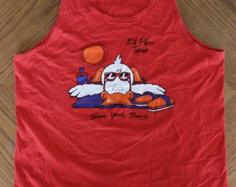 vintage 80s El Paso Texas tourist Tank Top XL Duck Sun Your Buns red t shirt two sided