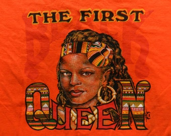 vintage African Queen T Shirt 90s Hip Hop Black Pride Orange tee XL '93 rare made in Africa