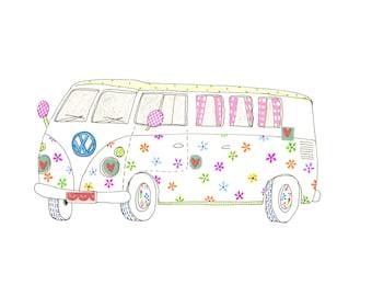 Kids Wall Art, Kids Art,  VW Campervan - Happy Camper Print - Limited Edition 8x10 Print by Jennie Deane