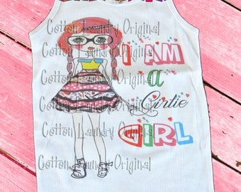 Childrens tee shirt Vintage inspired childrens tshirt I am a girlie Girl....Ooak