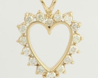 Diamond Heart Pendant - 14k Yellow Gold Love Women's Polished 1.00ctw F2548