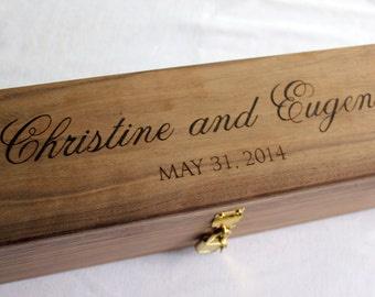 Wine Box Wedding Ceremony Love Letter Ceremony Rustic Wedding Wine Box handmade from Walnut, Wedding Memory Box, with Script Font NAS