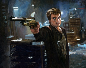 Original Acrylic Painting - Nathan Fillion as Malcolm Reynolds in Firefly and Serenity