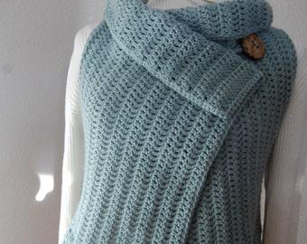 Crochet Vest Seaspray green with button closure