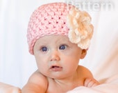 PDF CROCHET PATTERN Crochet Chunky Flower Beanie Hat Newborn 0-3 and 3-6 Months Instant Download