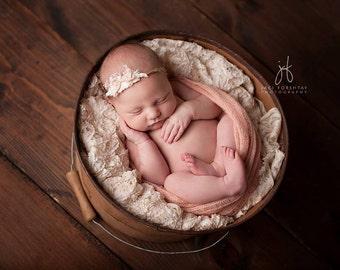 Seashell Mohair Wrap Tieback Set, Newborn Photo Prop, Newborn Headband and Wrap Set,