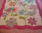 Spring Flowers Throw Quilt